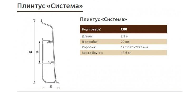 Плинтус IDEAL  Система 80x22x2200мм